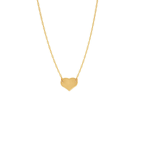 14 karat yellow gold mini heart necklace that can be worn at 16