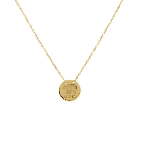 14 karat yellow  gold mama bear disc necklace - mini- can be worn at 16