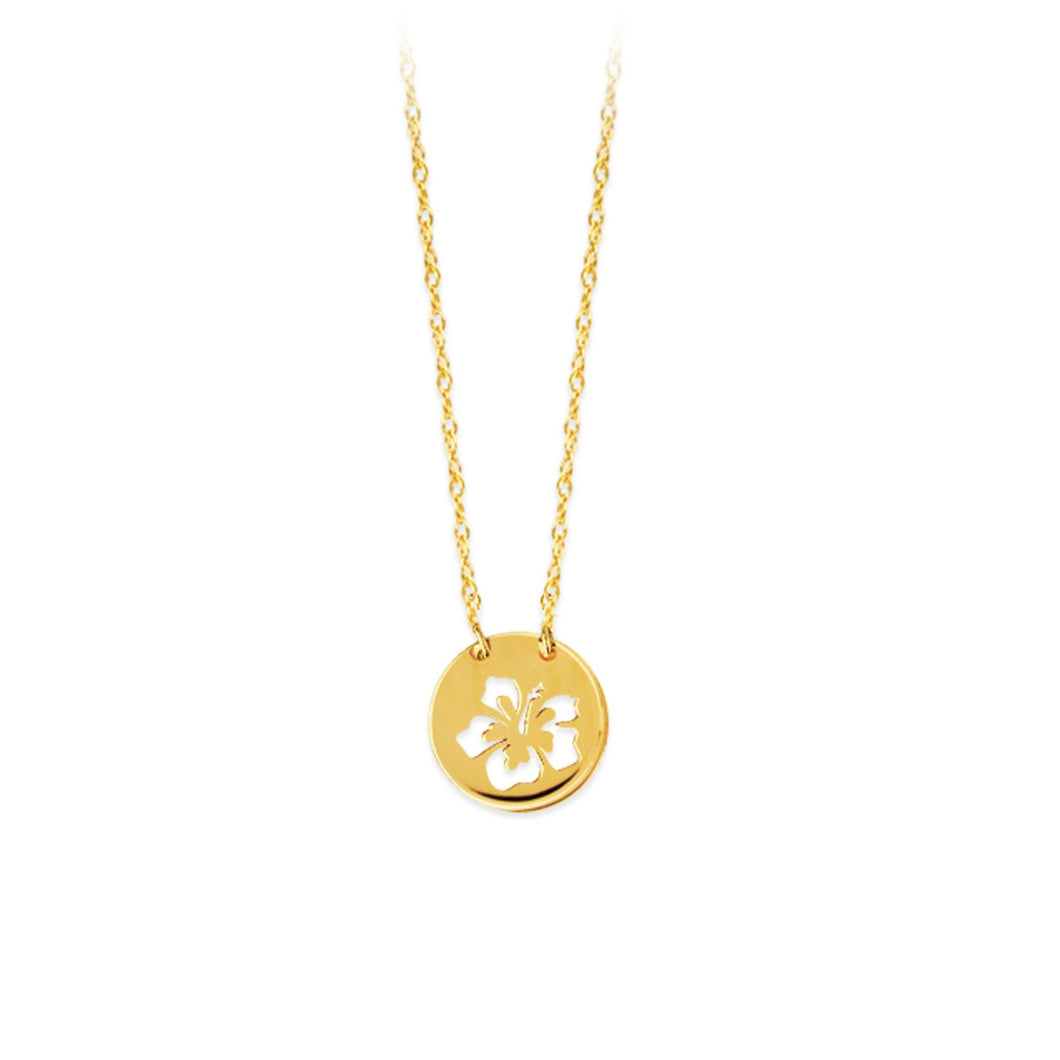 14 karat yellow gold cut-out hibiscus disc mini necklace