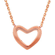 14 karat rose gold heart outline necklace that can be worn at 16