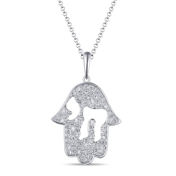 14 karat white gold .22 diamond hand of god necklace with a cut-out chai in the center