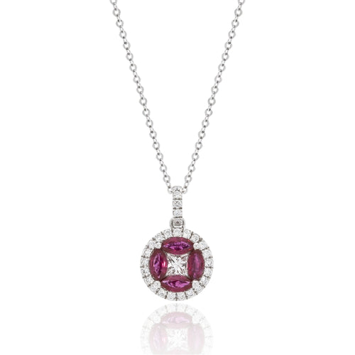 14 karat white gold .71ctw ruby and .20ctw diamond necklace on an 18