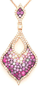 This Gorgeous Necklace Designed by Luvente Features a Beautiful 14 Karat Rose Gold Pendant Featuring Pink Sapphire Gemstones Graduating in Color Along with Sparkling White Diamonds. The Rose Gold Chain is Adjustable.  Total Sapphire Weight 1.22 Carats  Total Diamond Weight .45 Carat  Total Weight 4.2 Grams