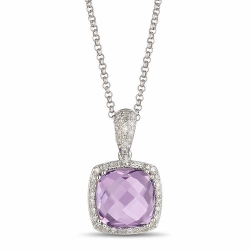 14 Karat white gold Amethyst pendant necklace with a Diamond Halo