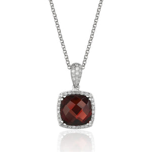 14 karat white gold 2.88 carat garnet pendant necklace surrounded by .20 carat total weight of diamonds.  adjustable chain to 18""