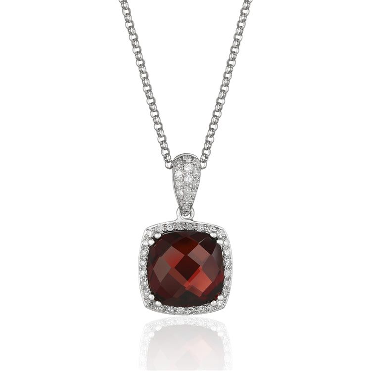 14 karat white gold 2.88 carat garnet pendant necklace surrounded by .20 carat total weight of diamonds.  adjustable chain to 18