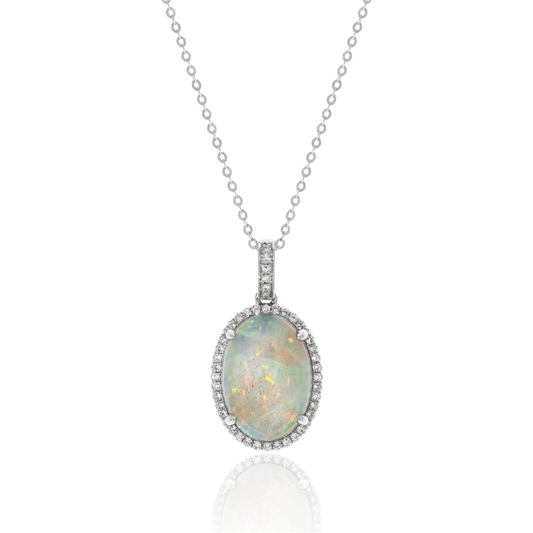 14 karat white gold 2.82 carat opal necklace with .13ctw of diamond accents.  the chain is adjustable to 18