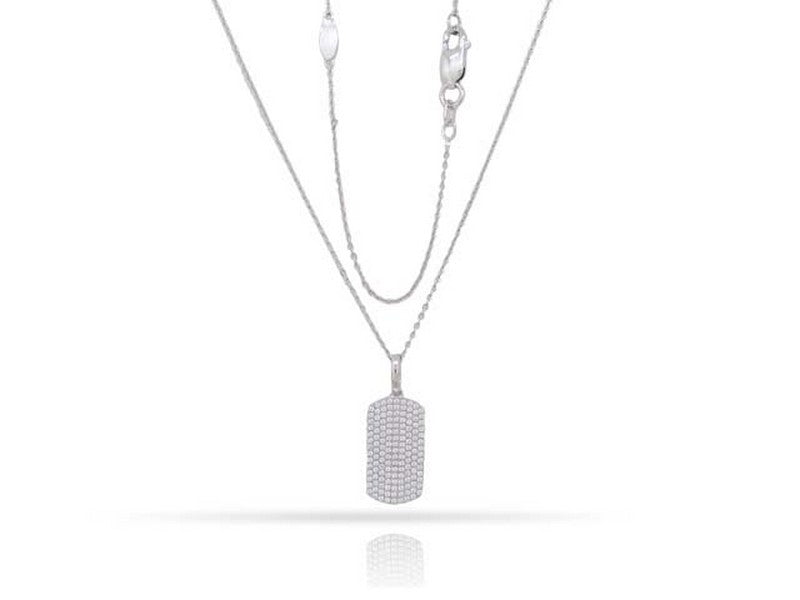 14 karat white gold mini dog tag necklace with .44 carat total weight of pave set diamonds.  can be worn at 16