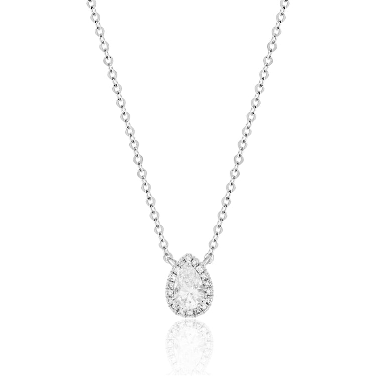 14 karat white gold pear diamond halo necklace with a center .32 carat pear shaped diamond with diamond halo.  the adjustable chain to 18