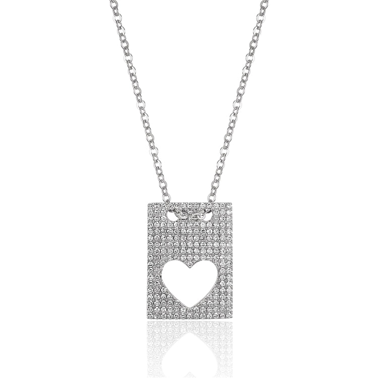 14 karat white gold rectangle pendant necklace with a cut-out heart featuring .40 carat total weight of diamonds.  the chain is adjustable to 18