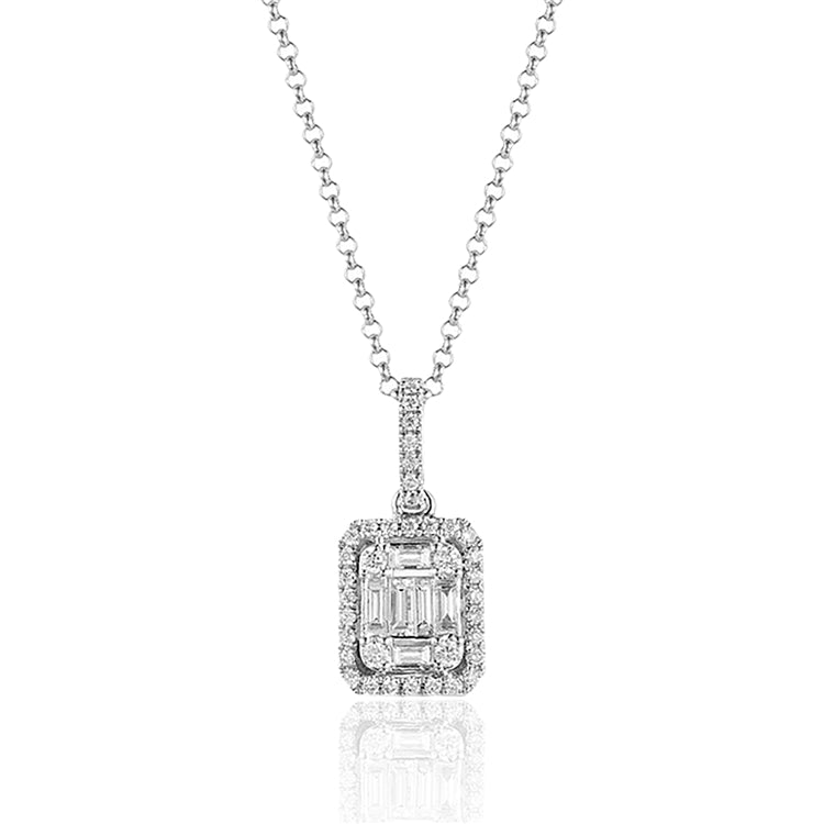 14 karat white gold vintage inspired diamond necklace with an adjustable chain to 18