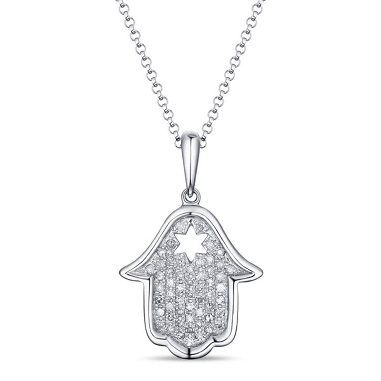 14 karat white gold .13 dtw hand of god necklace with a cut-out star of david.  chain is adjustable to 18