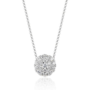 14 karat white gold .53 carat total weight cluster diamond pendant necklace