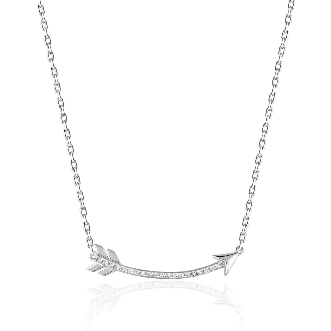 14 Karat white gold diamond curved arrow stationary necklace