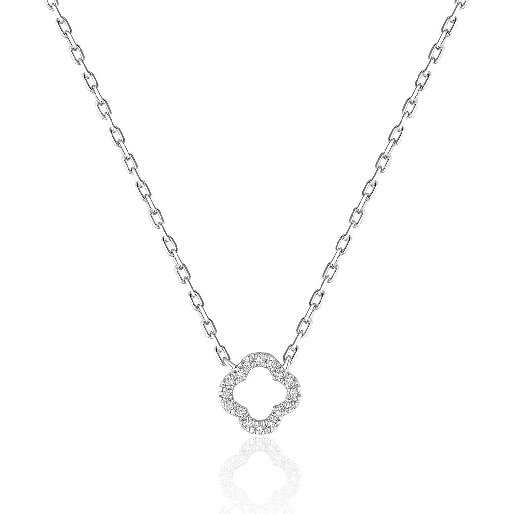 14 karat white gold .03dtw open space necklace. length is 16