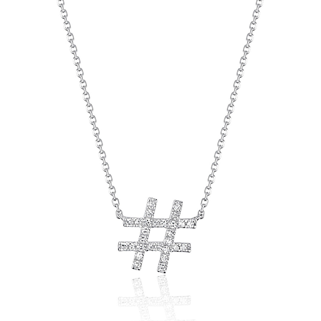 14 karat white gold hashtag symbol necklace set with twenty-five diamonds.  can be worn at 16