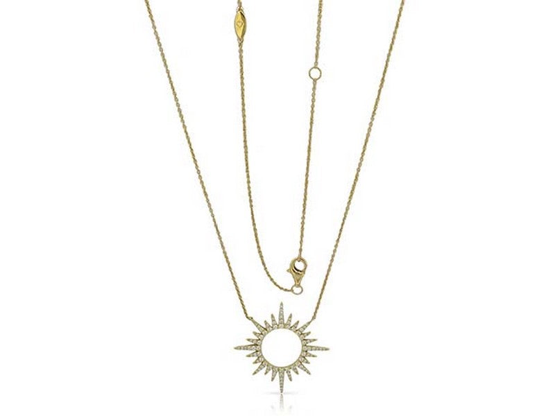 our top seller.  14 karat yellow gold .40ctw diamond starburst necklace. can be worn at 16