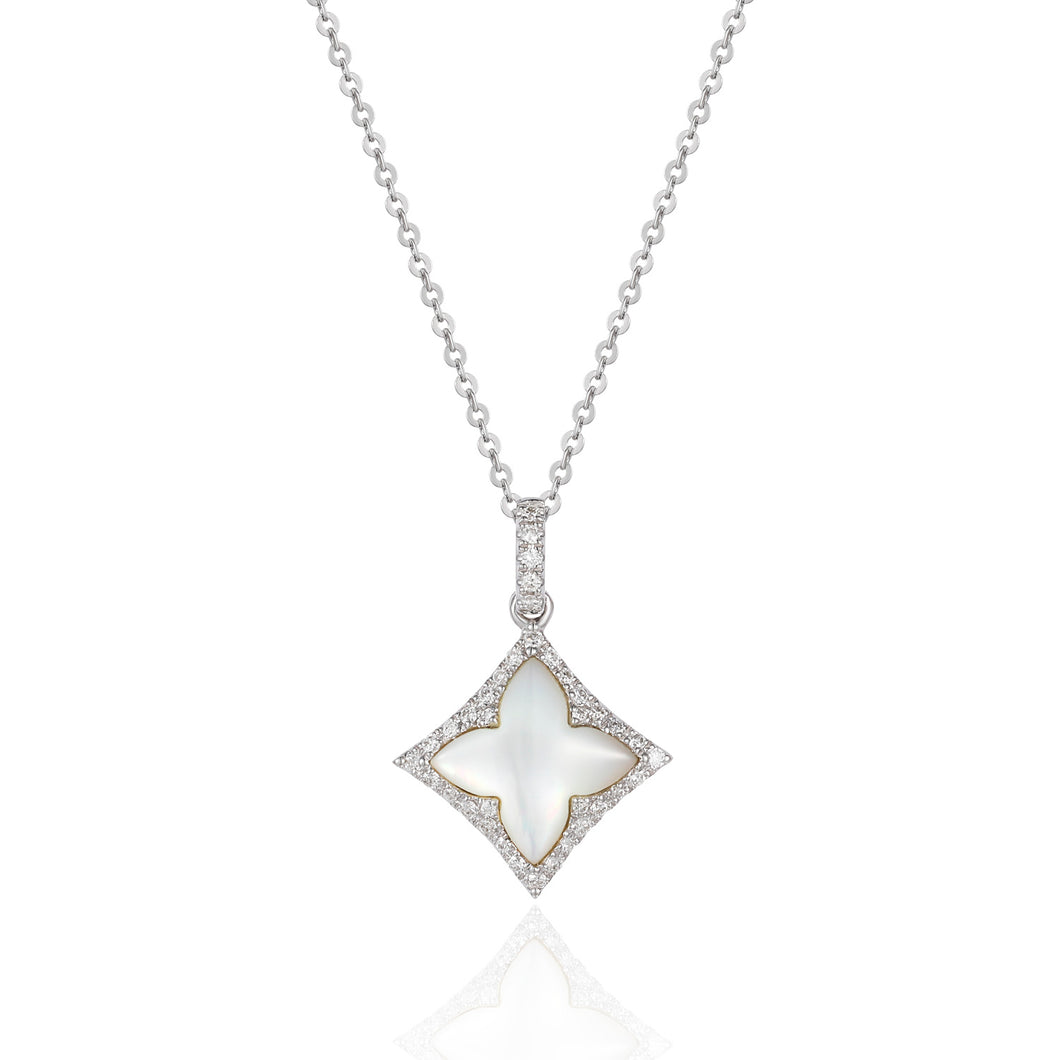 14 karat white gold mother of pearl necklace with diamond accents and an 18