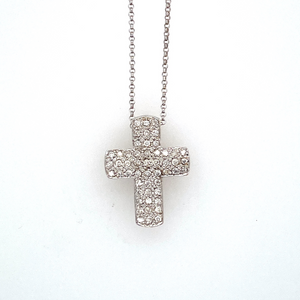 "This Gorgeous Estate Cross Necklace Features 51 Diamonds set throughout the Cross, and Hung from a 18KW 16"" Link Chain. Measures Approximately 20.0mm x 15.0mm  Approximate Total Diamond Weight .40 Carat"