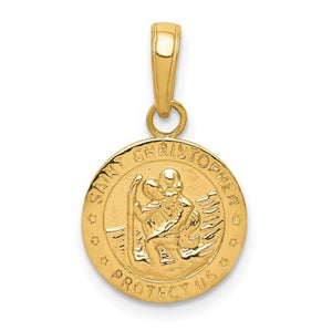 14 karat yellow gold st christopher medal measuring 12mm x 20mm.  gram weight is 1.4 grams