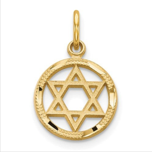 14 karat yellow gold star of david pendant measuring 12mm x 19mm and weighs .79 grams