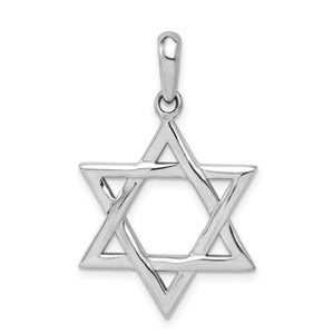 14 karat white gold star of david measuring 20mm x 33mm and weighs 3.3 grams