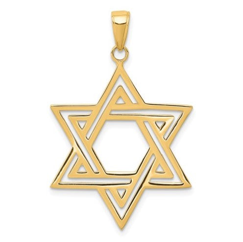 14 karat yellow and white gold star of david  measures 38mmx25mm and weighs 1.79 grams