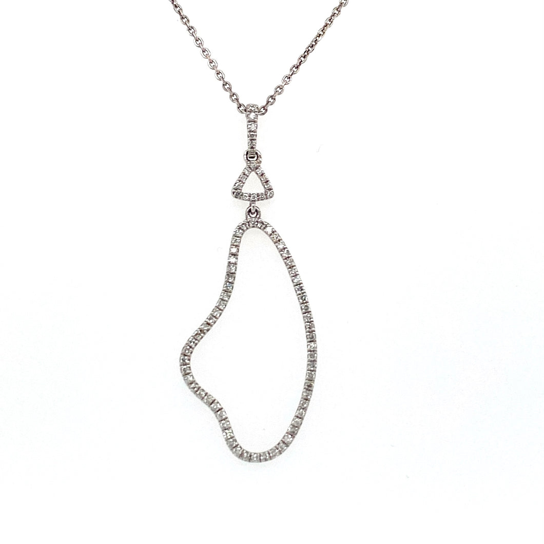This Elegant Geometrical Open Shaped 14 Karat White Gold Necklace Features Sparkling White Diamonds all the way up to the Top of the Bail. The 18