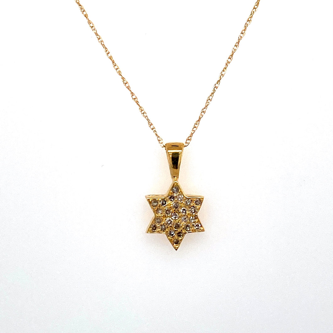 This Dainty 14 Karat Yellow Gold Star of David Measures 10.0mm Point to Point, and is set with Sparkling Diamonds. The Very Fine 14 Karat Yellow Gold 18