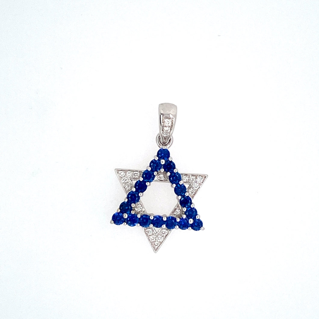 This Pretty Estate 14 Karat White Gold Star of David Features Round Sapphires in a Triangle Shape and 21 Diamonds in another Triangle Shape, Creating the Star Shape. Measures Approximately 18.0mm from Point to Point of Star  Total Sapphire Weight .90 Carat  Total Weight 2.9 Grams
