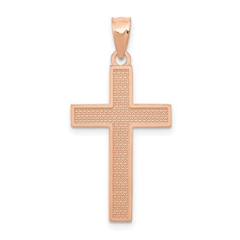dainty 14 karat rose gold cross pendant