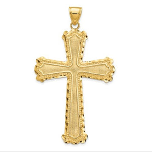 14 karat yellow gold diamond-cut cross pendant  2.94 grams