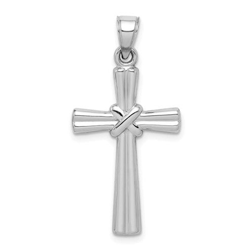 14 karat white gold polished cross pendant  weight is .96 grams
