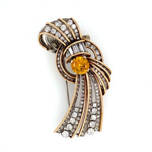 This Gorgeous 18 Karat Yellow Gold Pin has a Gorgeous Round Citrine Gemstone on the Center with Diamonds of all Sizes Throughout.   Estimated Diamond Total Weight is 4.00 Carats  Total Weight 17.5 Grams  Approximate Measurement is 55.0mm Long and 22.0mm Wide