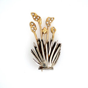 This Beautiful Estate Pin Features 925 Sterling Silver on the Bottom and 18 Karat Yellow Gold for the Yucca Flowers, set with Sparkling White Diamonds. Total Weight 9.4 Grams
