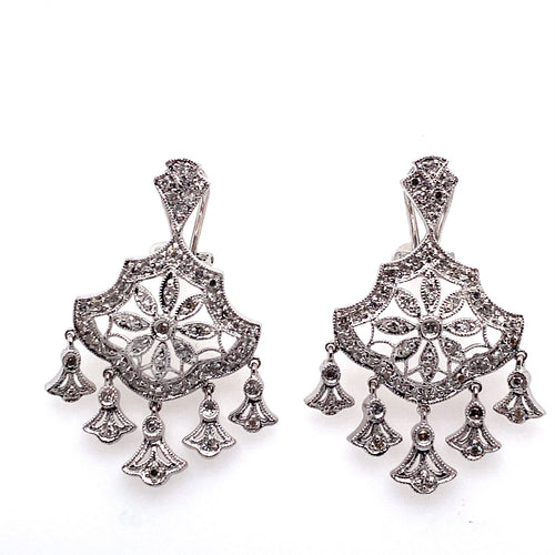 These Gorgeous 14 Karat White Gold Estate Chandelier Earrings Feature Five Dangles from a Flower Design, all set with Diamonds Throughout. The Earrings are Secured with Omega Backs.  Total Diamond Weight .75 Carat  Total Weight 8.2 Grams