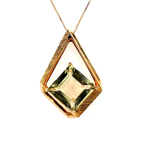 If you have an Omega Necklace, This Gorgeous Estate Slide Features a Square Shaped Green Quartz Gemstone set at the Bottom of the Kite Shaped Open Designed Setting.   Total Weight 10.5 Grams  The Chain in Photo does not come with the Slide