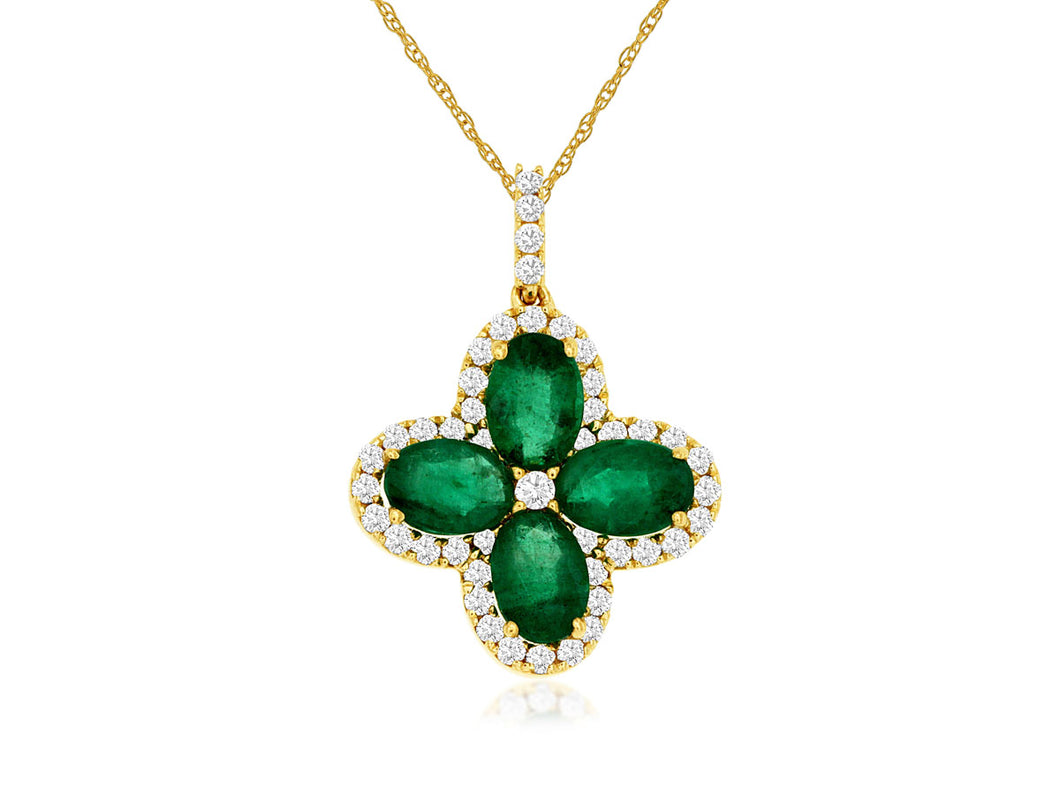 14KY Emerald and Diamond Necklace