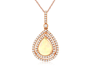 14KR Opal and Diamond Necklace