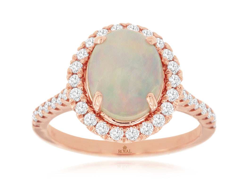 14KR Opal and Diamond Ring