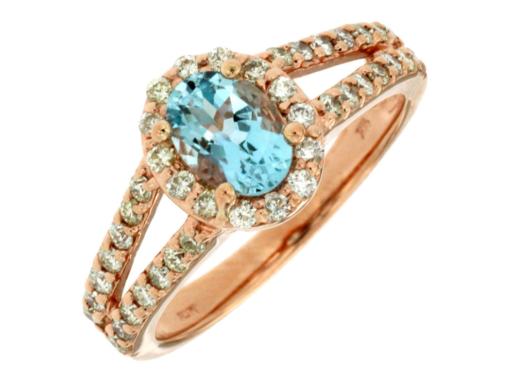 14KR Aquamarine and Diamond Ring