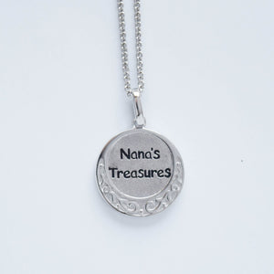 "mommy chic ""nana's treasures"" necklace in sterling silver and can be worn at 18"" or 20"""