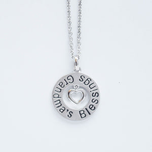 "mommy chic ""grandmas blessings"" necklace in sterling silver and can be worn at 18"" or 20"""