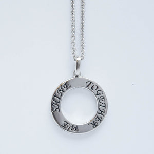 "mommy chic ""together we shine"" open round disc necklace in sterling silver that can be worn at 18"" or 20"""