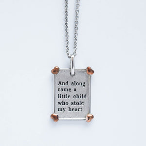 "mommy chic ""along came a child"" necklace in sterling silver.  can be worn at 18"" or 20"""""