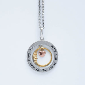 "mommy chic ""we love you to the moon and back"" necklace in sterling silver with a rose gold plated heart and yellow gold plated moon.  can be worn at 18"" or 20"""