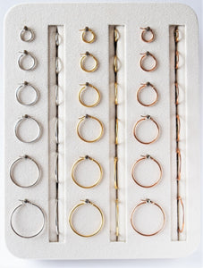 14 karat classic hoop earrings in yellow, white, or rose gold, and in different mm sizes
