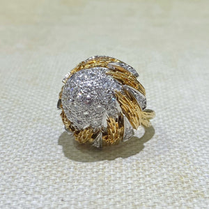 Estate - 18KY and Platinum Diamond Dohme Ring