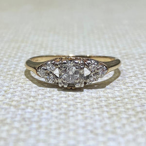 Estate - 18K Two-Tone Diamond Vintage Engagement Ring