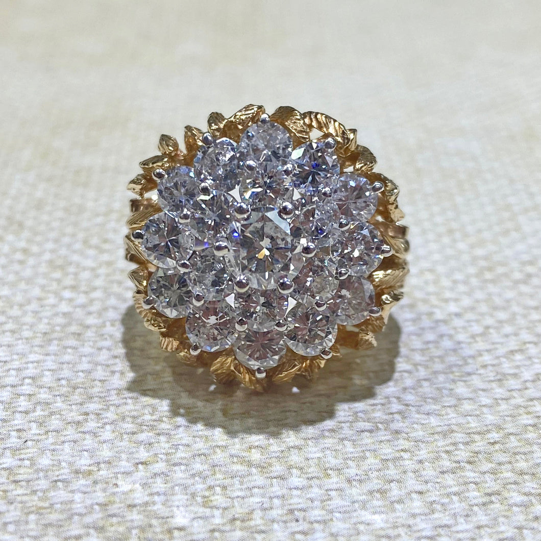 Estate - 14K Two-Toned 2-Piece Diamond Cluster Ring